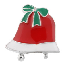 20MM Christmas bell snap Silver Plated with Rhinestone and Enamel KC6390 snaps jewelry