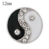 Broches de Tai Chi 12mm Plateado con esmalte blanco y negro y joyería a presión KS6366-S de diamantes de imitación