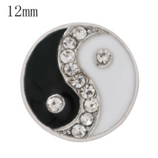 12mm Tai Chi snaps Silver Plated with black&white enamel and Rhinestone KS6366-S snap jewelry
