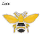 12mm honeybee snaps Silver Plated with yellow enamel KS6367-S snap jewelry