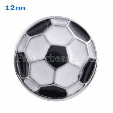 12mm Football snaps Silver Plated with white Enamel KS5054-S snap jewelry