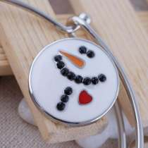 20MM snap Christmas snowman Antique Silver Plated with Enamel KC8560 interchangable Christmas snaps jewelry