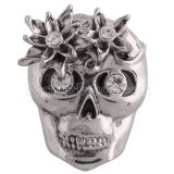 20MM skull snap silver Antique plated with Rhinestone KC5415 snaps jewelry