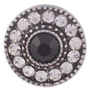 20MM Broche redondo Chapado en plata antigua con diamantes de imitación claros y negros KB7711 broches de joyería