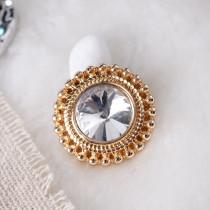 20MM Bouton pression rond Plaqué or avec strass blanc KB6905 s'encliquette bijoux
