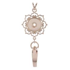 Высокое качество розовое золото крюк ожерелье Badge Reel ID держатель подходит 18 и 20mm куски оснастки ювелирные изделия