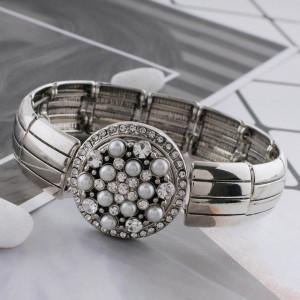 Astilla de diseño 20MM plateada con diamantes de imitación blancos y perlas KC5705 broches de joyería