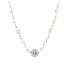 Pendant sliver pearl and Rhinestone Necklace with 48cm chain KC1064 snaps jewelry