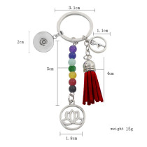 fashion Keychain with pendant and colorful beads fit snaps chunks KC1196 Snaps Jewelry