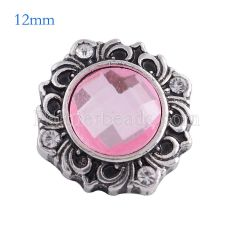 12MM flower snap Antique Silver Plated with pink glass KS6108-S snaps jewelry
