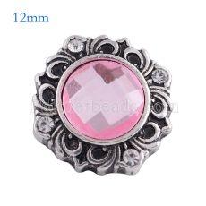 12MM fleur snap Antique Silver plaqué avec verre rose KS6108-S s'enclenche bijoux