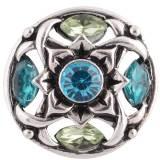 Diseño 20MM complemento plateado antiguo plateado con diamantes de imitación azules KC8708 broches de joyería