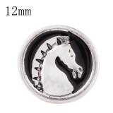 12mm Horse Small size with black enamel snaps for chunks jewelry