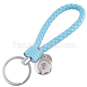 PU leather Keychain Keychain with button fit snaps chunks KC1117 Snaps Jewelry