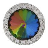 20MM Broche redondo plateado con diamantes de imitación coloridos KC9796 broches de joyería