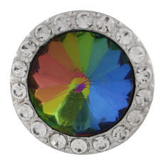 20MM Round snap Silver Plated with colorful rhinestone KC9796 snaps jewelry