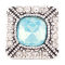 20MM Square snap Silver Plated with light Blue and clear rhinestones KC6089 snaps jewelry