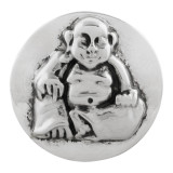 20MM Buddha snap button Silver Plated KC5710 snap jewelry