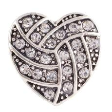 20MM Heart volleyball snap button Antique Silver Plated with white rhinestone snap jewelry