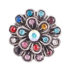 20MM flower snap Antique Silver Plated with rhinestone KC7030 snap jewelry multicolor