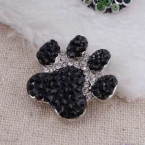 20MM Paws snap  Antique Silver Plated with black rhinestone KC7118 snaps jewelry