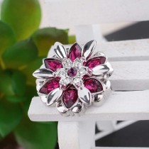 20MM design snap silver plated with rose-red Rhinestone KC5502 snaps jewelry