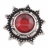 18MM snap Antique Silver Plated with red Rhinestone KKC9632 snaps jewelry
