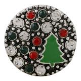 20MM Christmas snap sliver Plaqué de strass et d'émail KC7649 snap jewelry