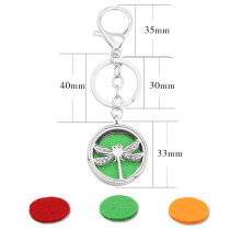 33MM alloy Dragonfly Aromatherapy/Essential Oil Diffuser Perfume KEY CHAIN with 1pc 25mm discs as gift