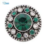 Broches 12mm plateados con diamantes de imitación verdes KS5066-S joyería rápida