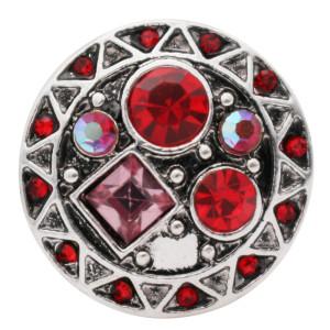 Broche redondo 20MM Plateado antiguo Plateado con diamantes de imitación rojos KC7673 se ajusta a presión