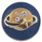 20MM Planet Snap Silber Antik plattiert mit Strass und blauer Emaille KC5321 Snaps Schmuck