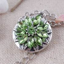 20MM  snap Antique silver Plated with green Rhinestones KC7329 snaps jewelry