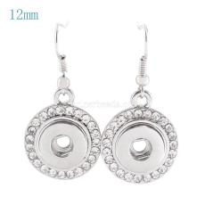 snaps metal earring with Rhinestones KS0918-S fit 12mm chunks snaps jewelry
