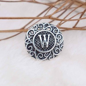 C20MM English alphabet-W snap Antik Silber KC6767 snaps jewelr