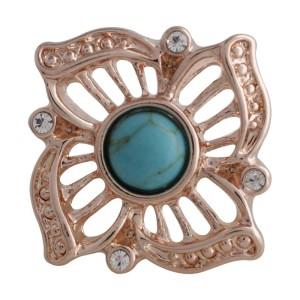 20MM fleur snap Rose-plaqué or avec cyan Turquoise KC5631 snaps bijoux