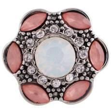 20MM design snap button Antique Silver Plated with pink Rhinestone KC9684 snap jewelry