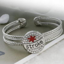 20MM Medical Alert stroke snap Silver Plated with white rhinestone and enamel KC9817 snaps jewelry