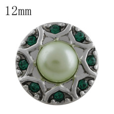 12MM design snap with green Rhinestone and green  bead KS5190-S interchangeable snaps jewelry