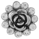 20MM Flower snap Antik Silber Überzogen mit weißen Strasssteinen KB7734 schnappt Schmuck