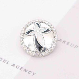 20MM cross snap Silver Plated black enamel KC7803 snaps jewelry