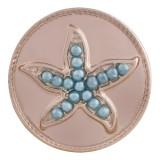 20MM estrella de mar chapada en oro rosa con cuentas azules KC9784 broches de joyería