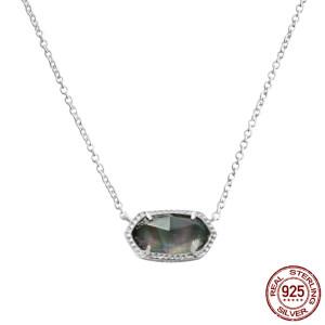 S925 Collar colgante Elisa estilo Kendra Scott de plata esterlina con conchas negras GM5002 0.8 * 1.5cm tamaño colgante