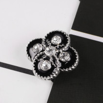 20MM Flower snap silver plated DS5021 with clear Rhinestone and black enamel interchangeable snaps jewelry