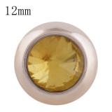 12MM bouton pression rond en or rose avec strass jaune KS9687-S s'enclenche les bijoux