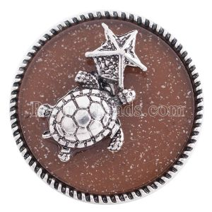 20MM snap sealife silver plated with brown resin KC6277 interchangable snaps jewelry