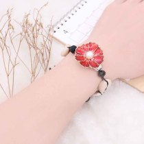 20MM flower big size snap gold Plated with  pearl and red enamel KC6807 snaps jewelry