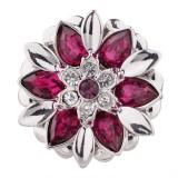 20MM design snap plaqué argent avec strass rose-rouge KC5502 snaps bijoux