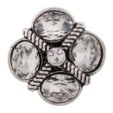 20MM design snap Antique Silver Plated with white Rhinestones KC6415 snaps jewelry