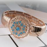 Diseño 20MM Chapado en oro rosa con diamantes de imitación azules KC7601 broches de joyería